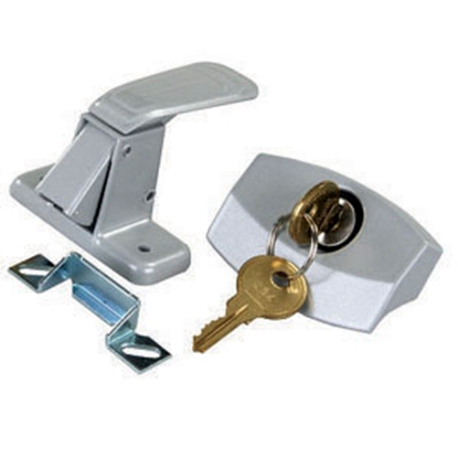 Picture of JR Products  Silver Lockable Entry Door Latch 10805 20-0232