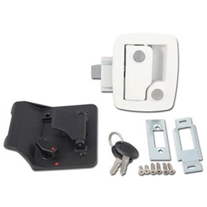 Picture of AP Products  White/Black Keyed Entry Door Lock 013-534 20-0744