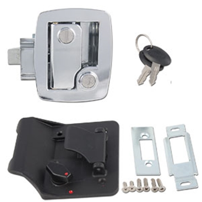 Picture of AP Products  Chrome/Black Keyed Entry Door Lock 013-535 20-0745