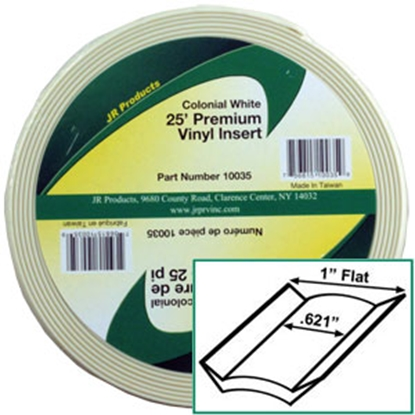 """Picture of JR Products  Colonial White 1"""" x 25' Vinyl Insert Trim 10035 20-1410"""