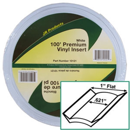 "Picture of JR Products  White 1"" x 100' Vinyl Insert Trim 10121 20-1430"