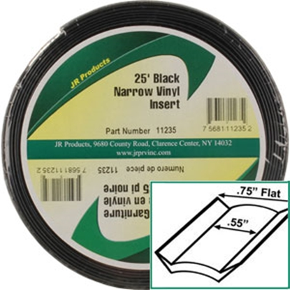"Picture of JR Products  Standard Black 3/4"" x 25' Narrow Vinyl Insert Trim 11235 20-1460"