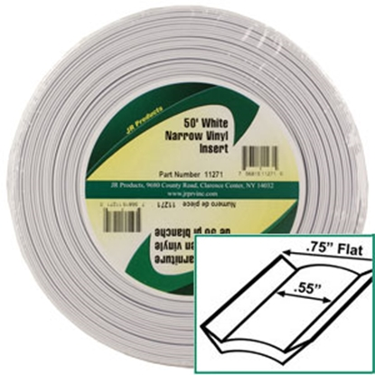"Picture of JR Products  Standard White 3/4"" x 50' Narrow Vinyl Insert Trim 11271 20-1464"