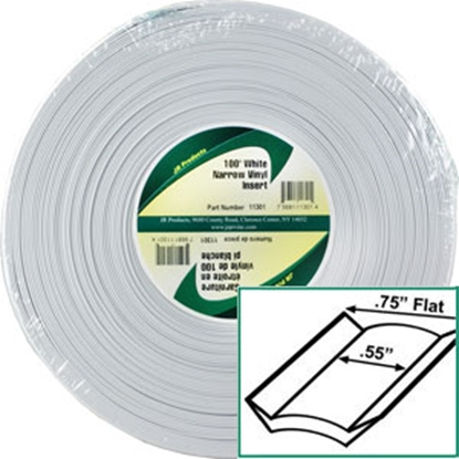 "Picture of JR Products  Standard White 3/4"" x 100' Narrow Vinyl Insert Trim 11301 20-1467"