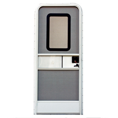 "Picture of AP Products  Polar White w/WH Window Frame RH 28""x72"" Square Entry Door 015-217719 20-4008"