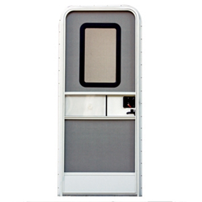 "Picture of AP Products  Polar White w/WH Window Frame RH 24""x72"" Towable Radius Entry Door 015-206319 20-4016"