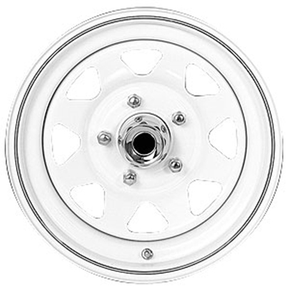"Picture of Americana  14"" x 6"" 5-Lug White w/ Stripes Trailer Wheel 20352 21-0010"