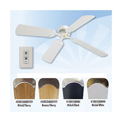 "Picture of Lasalle Bristol  12V 42"" Ceiling Fan, Nickel with Black Blades 410DC42BNBK 22-0064"