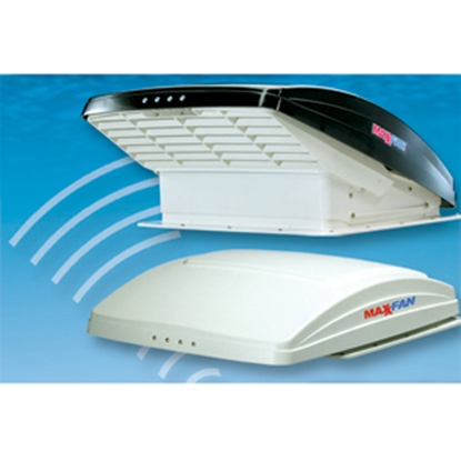 "Picture of MaxxAir MaxxFan (R) White 14""x14"" Roof Vent w/Fan & Thermostat 00-05100K 22-0381"