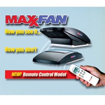 "Picture of MaxxAir MaxxFan (R) White 14""x14"" Roof Vent w/Fan, Power Lift, Thermostat 00-07000K 22-0388"