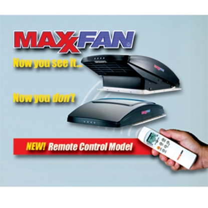 "Picture of MaxxAir MaxxFan (R) Smoke 14""x14"" Roof Vent w/Fan, Power Lift, Thermostat 00-07500K 22-0389"