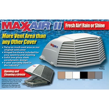 """Picture of MaxxAir Maxxair II (R) Smoke 14""""x14"""" Roof Vent Cover 00-933073 22-0426"""