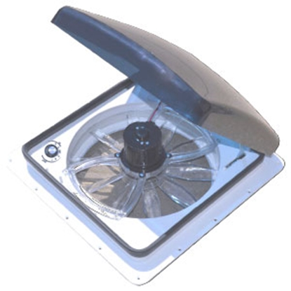 "Picture of Heng's Zephyr Smoke 14""x14"" Roof Vent w/Reversible Fan SV4112-G4 22-8893"