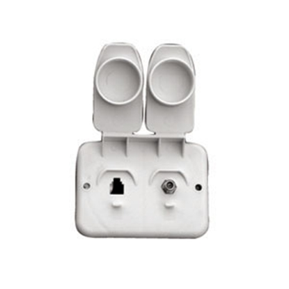 Picture of Prime Products  White Outdoor Dual TV/Phone Receptacle w/ Cover 08-6214 24-1060