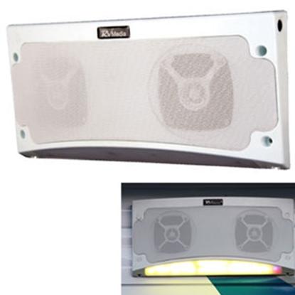 "Picture of King RV Media (TM) White 13-1/2""Wx5-1/2""Hx2-1/4""D Waterproof Bluetooth Speaker RVM2000 24-4872"