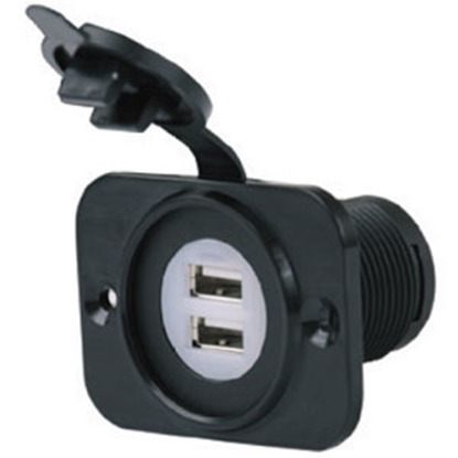 Picture of Marinco SeaLink Black 12V Dual Receptacle 12VDUSB 55-6203