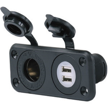 Picture of Marinco  12V & 5V Dual USB Indoor Receptacle w/ Weatherproof Cover 12VCOMBO 55-6204