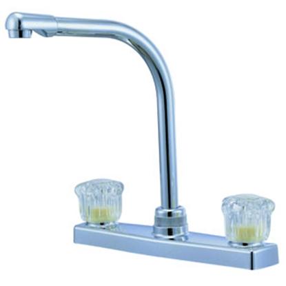 """Picture of Relaqua Relaqua (R) Chrome w/Clear Knobs 8"""" Kitchen Faucet w/Hi-Arc Spout AK-8201SH-1C 69-7066"""