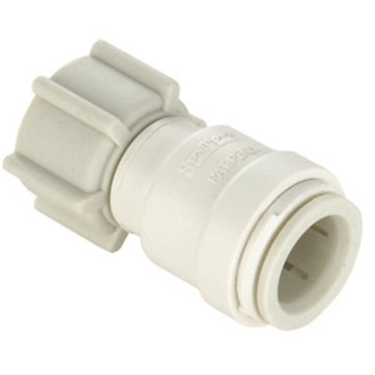 """Picture of Sea Tech 35 Series 1/2"""" Fem QC Copper Tube x 3/4"""" FGHT Swivel Nut Off-White Polysulfone Fresh Water Straight Fitting 013510-1"""