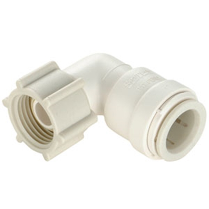 "Picture of Sea Tech 35 Series 1/2"" Fem QC Copper Tube x 3/4"" FNPS Swivel Nut Off-White Polysulfone Fresh Water 90 Deg Elbow 013520-1012"