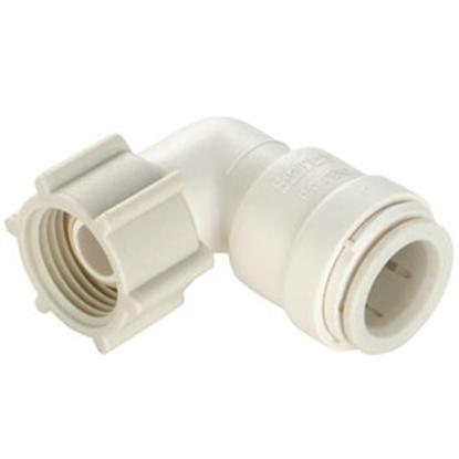 "Picture of Sea Tech 35 Series 1/2"" Fem QC Copper Tube x 3/4"" FGHT Swivel Nut Off-White Polysulfone Fresh Water 90 Deg Elbow 013520-1014"