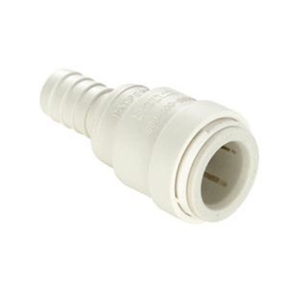 "Picture of Sea Tech 35 Series 1/2"" Female QC Copper Tube x 1/2"" Hose Barb White Polysulfone Fresh Water Straight Fitting 3513-1008 69-71"