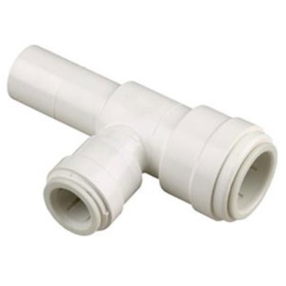 "Picture of Sea Tech 35 Series 1/2"" Fem QC Copper Tube x 1/4"" Fem QC OD Tube x 1/2"" Male CTS Off-White Polysulfone Fresh Water Tee 3533R-"