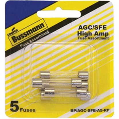 Picture of Bussman  5-Piece AGC/SFE Glass Fuse Assortment In Blister Pack BP/AGC-SFE-A5-RP 69-8469