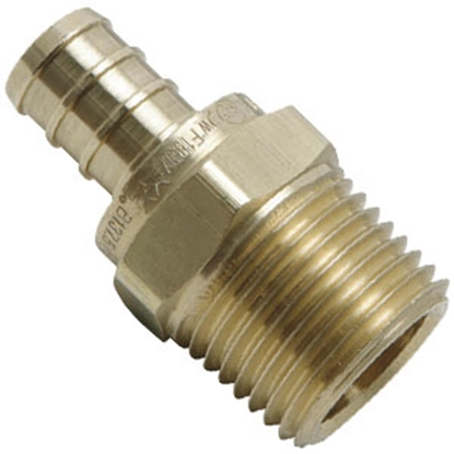 "Picture of Flair-It BestPEX 3/8"" Hose Barb x 1/2"" MPT Brass Fresh Water Straight Fitting 41121 69-9000"