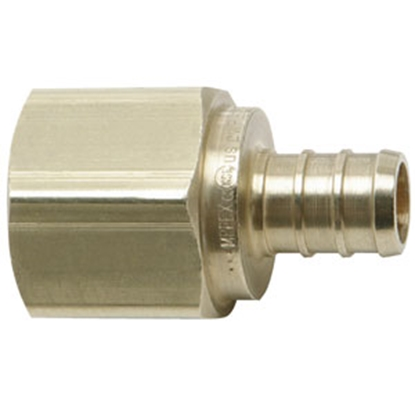"Picture of Flair-It BestPEX 1/2"" Hose Barb x 3/4"" FPT Brass Fresh Water Straight Fitting 41129 69-9004"