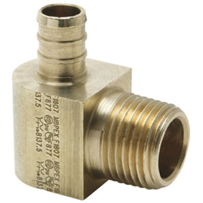"Picture of Flair-It BestPEX 1/2"" PEX x 1/2"" MPT Brass Fresh Water 90 Deg Elbow 41146 69-9009"