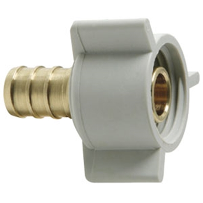 "Picture of BestPex Fittings BestPEX 1/2"" PEX x 1/2"" FPT Plastic Swivel Nut Brass Fresh Water Straight Fitting 41177 69-9014"