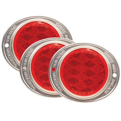 "Picture of Grote  3-5/8"" Round Red Screw Mount Reflector w/ Silver Housing 40232-3 69-9058"