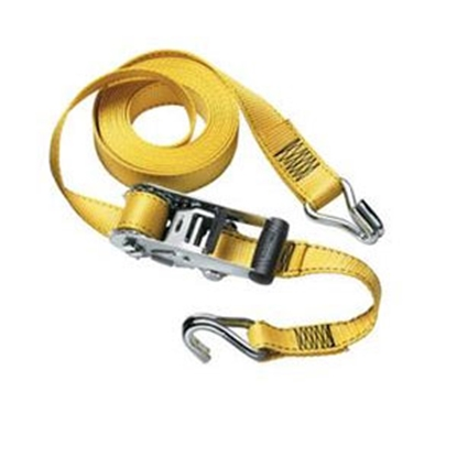 "Picture of Master Lock Strap Trap (TM) 1-1/2"" x 15' Yellow Ratchet Tie Down Strap w/J-Hooks 3058DATSC 69-9337"