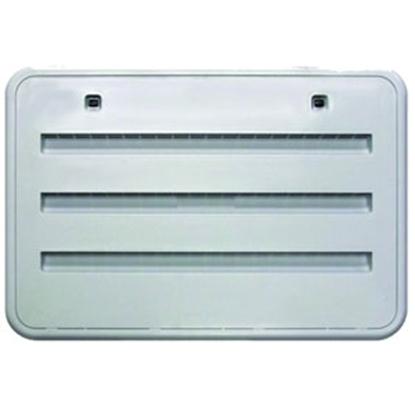 "Picture of Norcold  Polar White Plastic 17-13/16""W x 6-3/16""H Radius Refrigerator Side Vent 620505PW 69-9398"
