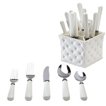 Picture of Q-Squared  20-Piece Flatware Set w/ Caddy 8728-WHITE 71-2426