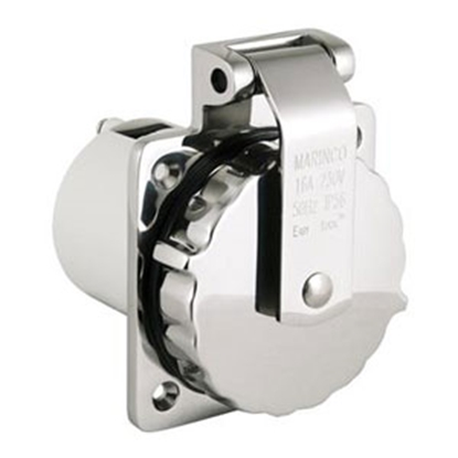 Picture of Marinco  Stainless Steel 125V/ 30A Outdoor/ Indoor Single Receptacle 303SSEL-BRV 93-1154