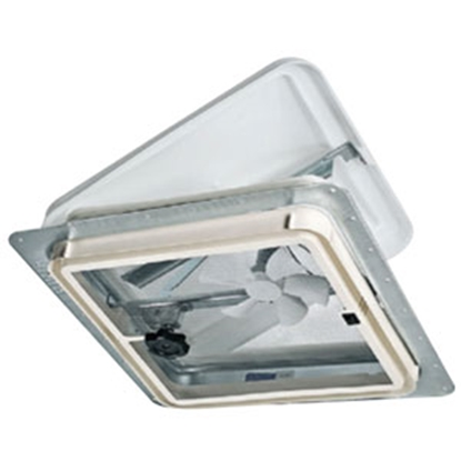 "Picture of Ventline  White 14.25""x14.25"" Polypropylene Frame Roof Vent w/Fan V2128-511-00 94-7635"