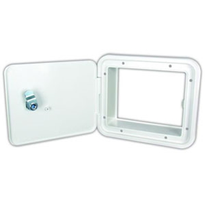 "Picture of JR Products  Polar White 5-7/8""RO Lockable Multi-Purpose Hatch Access Door E8102-A 95-8162"